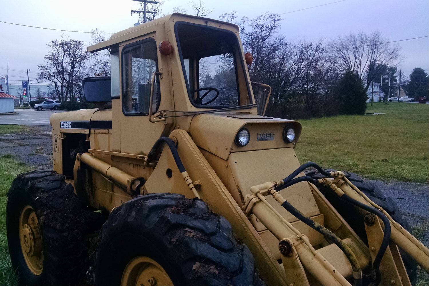 case w 7 steered front loader